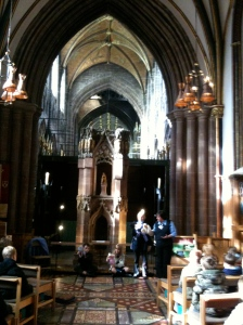 St. Werburga's Shrine from the 800's A.D. with children doing puppet shows about her story